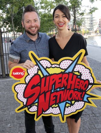 BeLonG To's Michael Barron with Danielle Ryan at the launch of the Super Hero Network. [Image: Photocall Ireland]