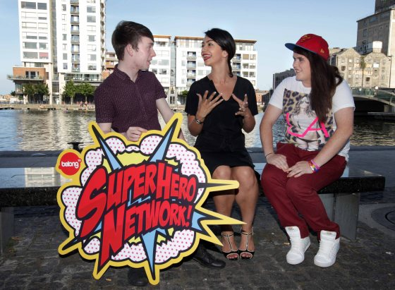 Entrepreneur Danielle Ryan chats with Patrick Ryan and Alison Kershaw from BeLonG To during the Super Hero Network launch in Dublin yesterday. [Image: Photocall Ireland]