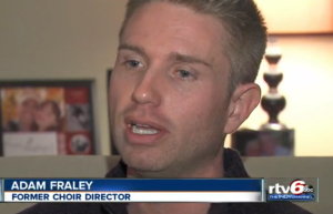 Adam Fraley, formerly of the First United Methodist Church in Alexandra, IN. [Image: RTV6 / Queerty]