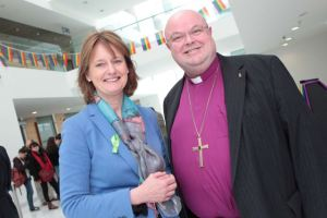 Senator Deirdre Clune and the Rev. Dr Paul Colton, Bishop of Cork, pictured at the official launch LGBT Awareness Week at Cork City Hall. [Photo: Diane Cusack]
