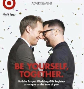 This advertisement by Target, promoting their wedding gift registry service for gay couples, was recently launched by the American retain chain in support of marriage equality.