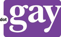 dotgay white letters on purple background