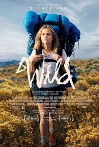 Wild film poster showing girl with backpack in the wild, blue sky above