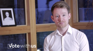 Eoin Wilson is one of the co-founders of Vote With Us [Image: Youtube]