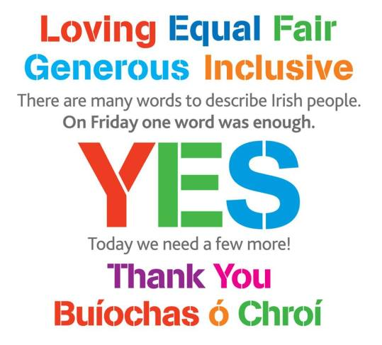 yes equality thank you buiochas o croi