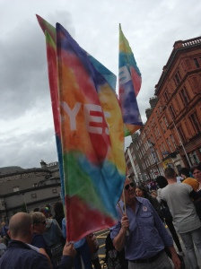 These 'Yes' flags reminded many of the successful campaign for equal marriage in Ireland [Photo: Scott De Buitléir]