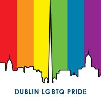 pride image of dublin skyline with rainbow colours