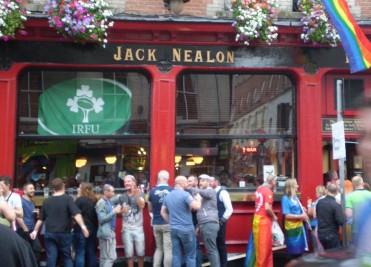 Crowds outside Nealons Bar