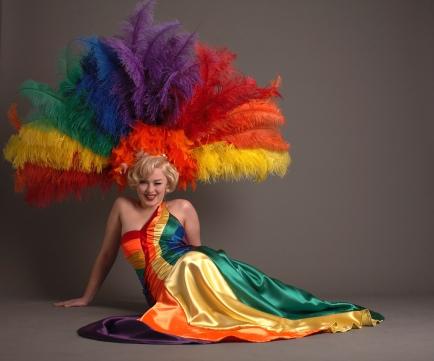 Rainbow pride dress - girl with rainbow coloured dress