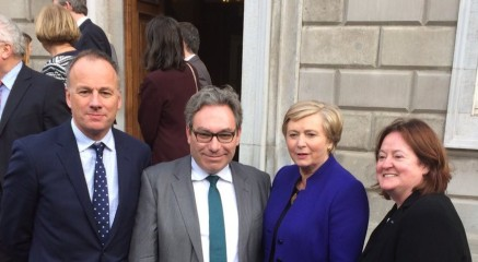 From Left: Brian Sheehan, Mark Kelly, Frances Fitzgerald, and Gráinne Healy, after the passing of the Marriage Bill 2015
