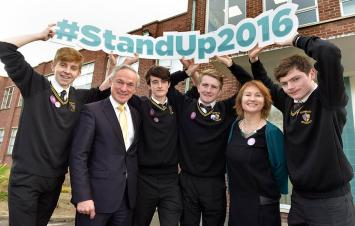 11-11-16At the launch today of 'Stand Up 2016', the largest anti LGBT bullying campaign in Ireland at St Paul's School Raheny, from left to right, James Naughton, Minister for Education and Science, Richard Bruton, TD, Daniel Kavanagh, Sean O'Connor, Moninne Griffith, Executive Director, 'BeLong To' and John O'Doherty. PIc Tommy Calcny =- No Fee.