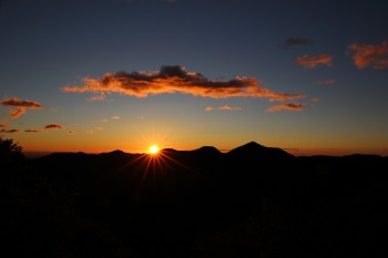 Image of a sunrise over a silhouette of mountains.