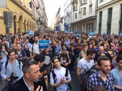 crowd of people protesting in Hungary