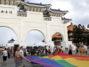 Giant rainbow flag unfurled in front of Taiwan autocrat's memorial hall