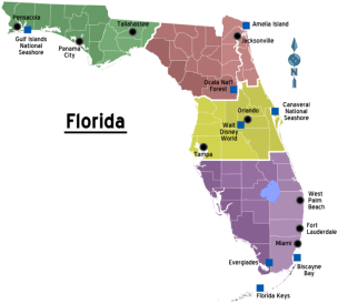 map of florida in colour